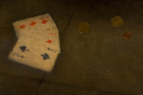 A Man without Purpose (detail of cards and coins)